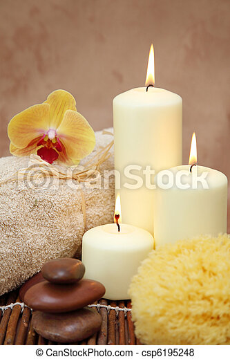 Spa with white candles - csp6195248