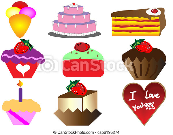 cartoon cakes and sweet - csp6195274