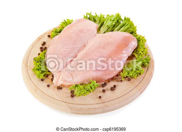 Fresh raw chicken breasts  - csp6195369