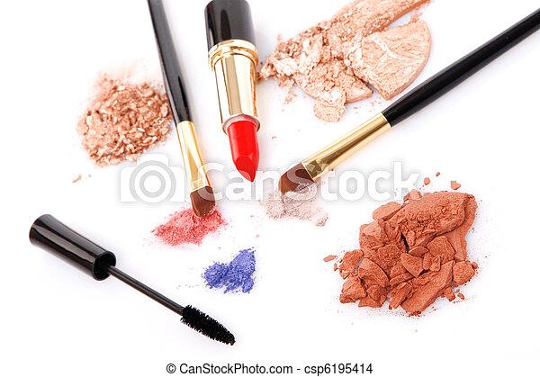 Make-up brush, lipstick and different powder - csp6195414