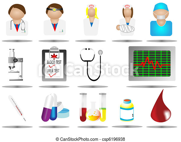 hospital icons, medical care icon se - csp6196938