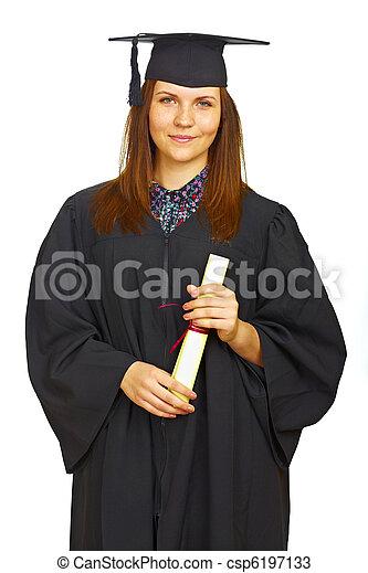 Happy graduation student isolated - csp6197133