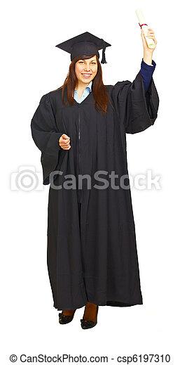 Happy graduation student isolated - csp6197310