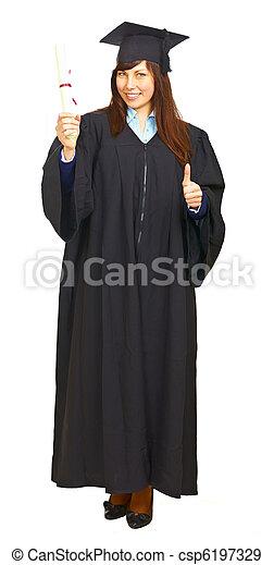 Happy graduation student isolated - csp6197329