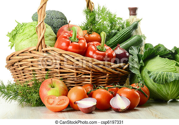 Vegetables in wicker basket - csp6197331