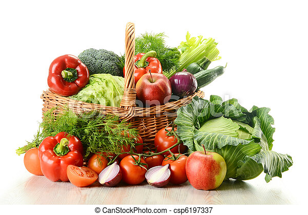 Vegetables in wicker basket - csp6197337