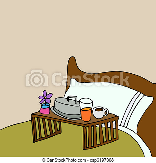 Vector of Breakfast In Bed - An image of a breakfast food tray on a ...