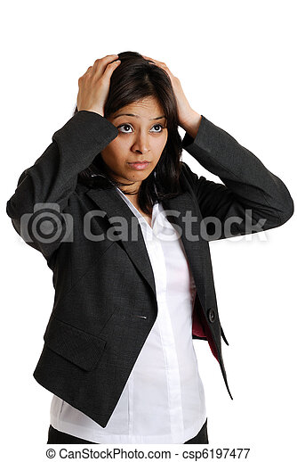 Business woman with her hands on her head due failure - csp6197477