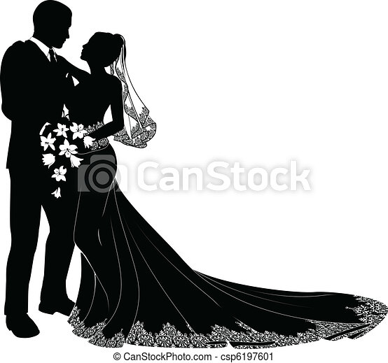 Bride and groom silhouette - csp6197601