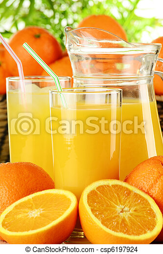 Glasses of orange juice and fruits - csp6197924