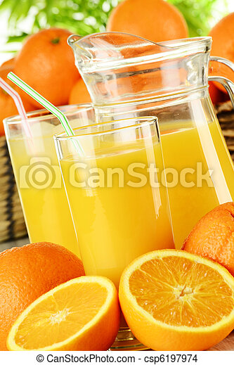 Glasses of orange juice and fruits - csp6197974