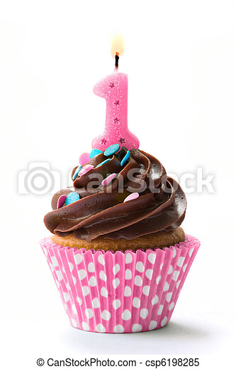 First birthday cupcake - csp6198285