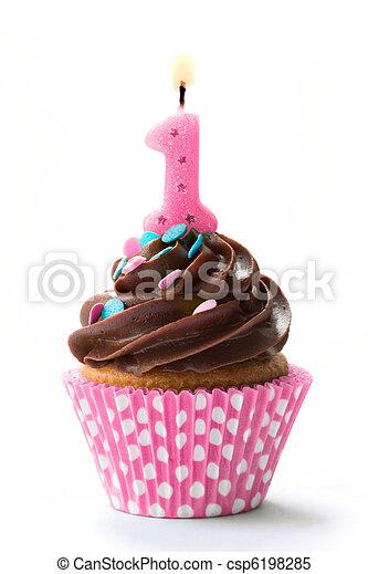 First birthday cupcake - csp6198285
