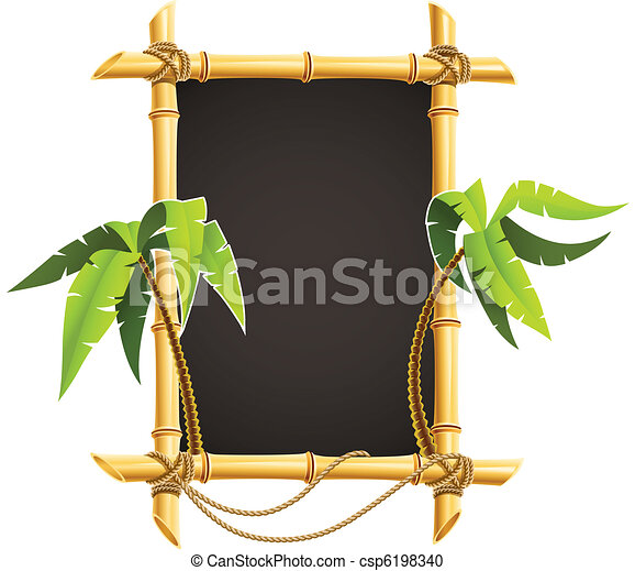 bamboo frame with tropical palms - csp6198340
