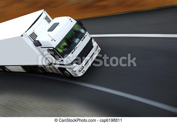 withe, camion,  semi, autoroute - csp6198811