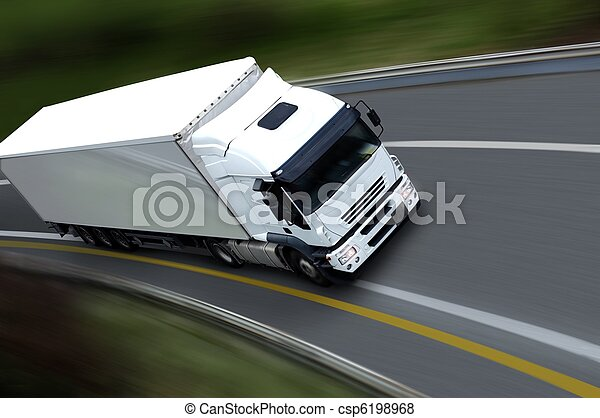 withe semi truck on road - csp6198968