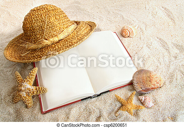 Book with straw hat and seashells in sand - csp6200651