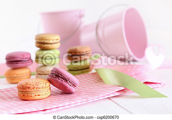 Delicious French Macaroons on table - csp6200670