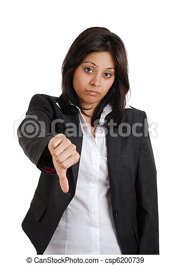 Business woman gesturing thumbs dow - csp6200739