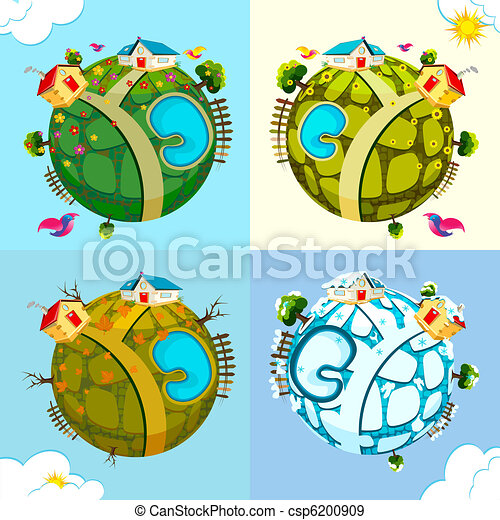 Earth in different Season - csp6200909
