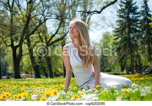Enjoy life - happy young woman - csp6202095