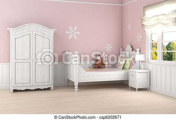 Pink girl's bedroom - csp6202671