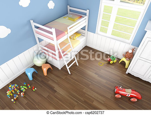children´s bedroom seen from above - csp6202737