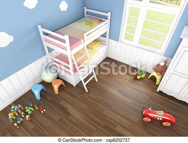 children´s bedroom seen from above - csp6202737