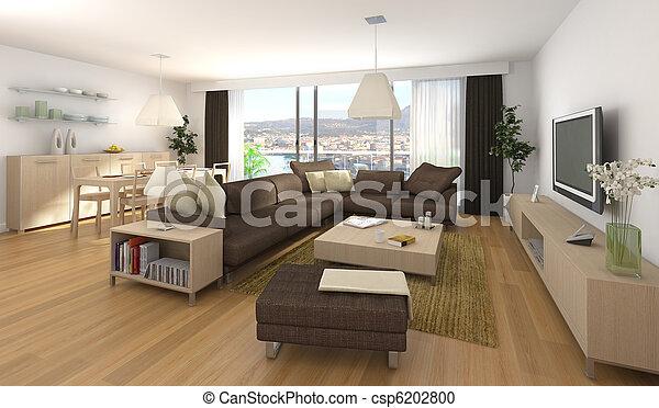 modern interior design of apartment - csp6202800