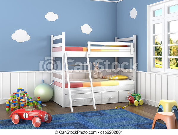blue children´s room with toys - csp6202801