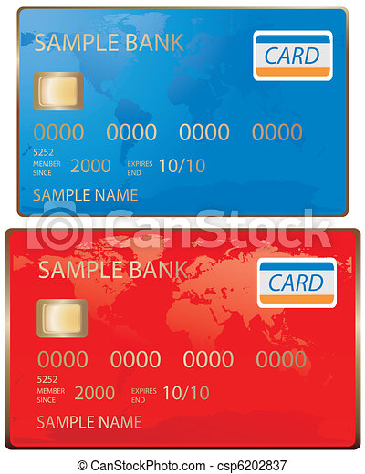 Credit Card in blue and red - csp6202837