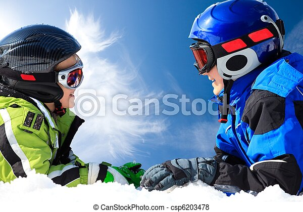 Boys playing in snow - csp6203478