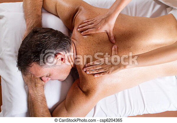 middle aged man back massage - csp6204365