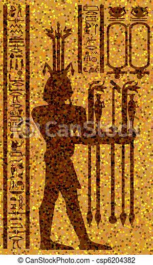 egyptian hieroglyphs and fresco - csp6204382