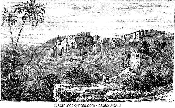 Bethlehem, city, Palestine, Israel, vintage engraving. - csp6204503