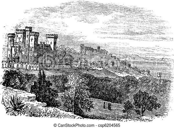 Saint Ursula castle or Church of Saint Ursula, Cannes, France. vintage engraving - csp6204565