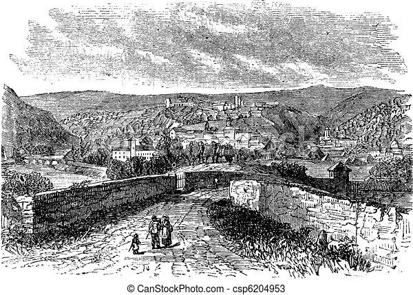 Besancon city, Franche-Comte , France, vintage engraving. - csp6204953