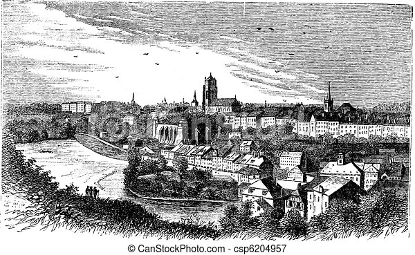 Vectors Illustration of Bern city in late 1800s ...