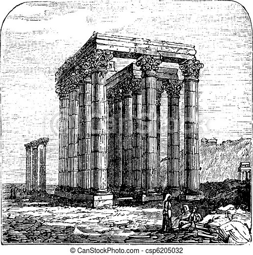 The Temple of Olympian Zeus or  Columns of the Olympian Zeus, Greece, Athens. Vintage engraving. - csp6205032