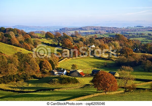 Rolling English countryside in Autumn - csp6205046