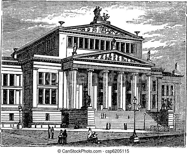 Konzerthaus Berlin or Schauspielhaus Berlin, concert hall, Berlin, Germany, vintage engraving. - csp6205115