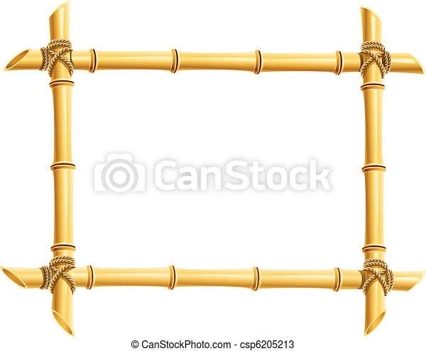 wooden frame of bamboo sticks - csp6205213