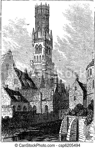 Belfry of Bruges, or Bellfort, Bruges, Belgium. Vintage engraving. - csp6205494