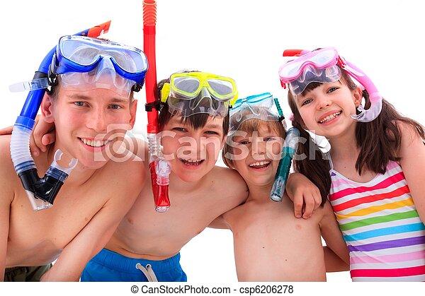 feliz, crianças, snorkels - csp6206278