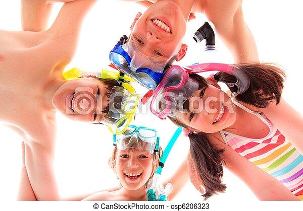 feliz, crianças, snorkels - csp6206323