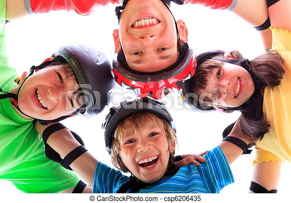 Kids with helmets and pads - csp6206435