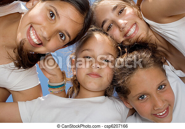 happy smiling youth group of kids - csp6207166