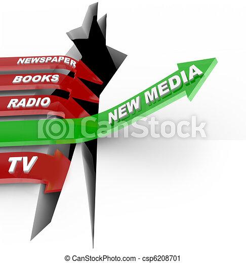 New Media vs. Old Media - Technologies Beat Older Formats - csp6208701