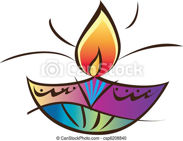 Vector Clip Art of Indian oil lamp - Stock Vector Illustration ...
