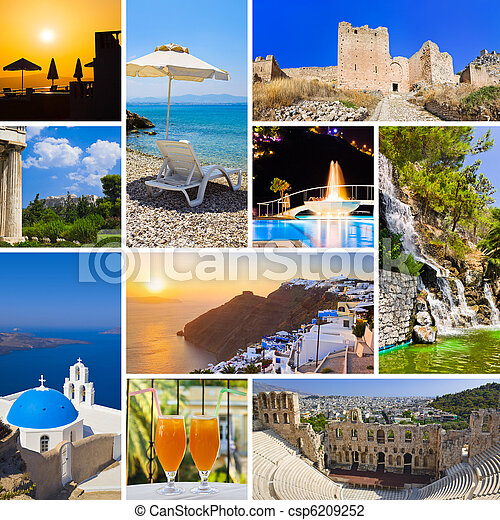 Collage of Greece travel images - csp6209252